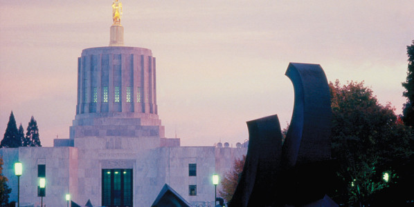 <p>Oregon State Capitol at Sunset</p>